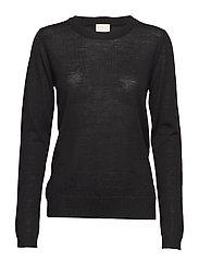 Rose knit pullover - BLACK