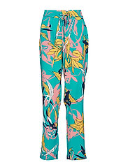 Caitlyn pants - AQUA BLUE TWISTED FLOWER PRINT