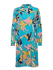 Caitlyn dress - AQUA BLUE TWISTED FLOWER PRINT