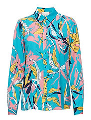 Caitlyn shirt - AQUA BLUE TWISTED FLOWER PRINT