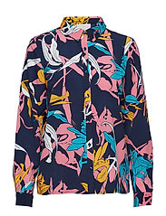 Caitlyn shirt - BLACK IRIS TWISTED FLOWER PRINT