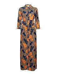 Kriss long shirt dress - STRIPED FLOWER PRINT