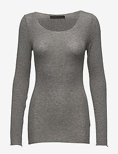 Claudia top - langærmede toppe - light grey melange