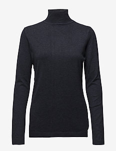 Lana roll neck knit - turtlenecks - black iris melangé