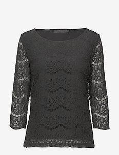 Anastacia Blouse - long sleeved blouses - black