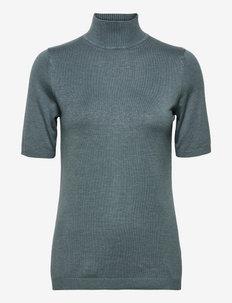 Lima roll neck knit - strikkede toppe - blue zen melange