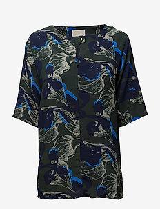 Dicte blouse - kortermede bluser - green floral print