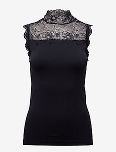 Vanessa high neck - blouses zonder mouwen - black