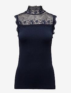 Vanessa high neck - sleeveless blouses - black iris