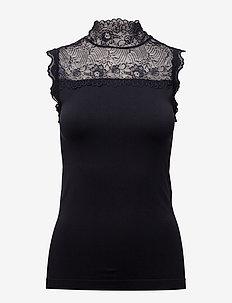 Vanessa high neck - sleeveless blouses - sort