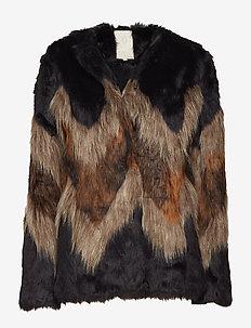 Kensly fur coat - fausse fourrure - wave pattern