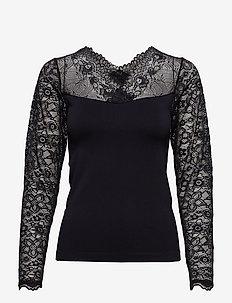 Vanessa V-neck Long Sleeve - long sleeved blouses - black