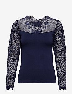 Vanessa V-neck Long Sleeve - long sleeved blouses - black iris