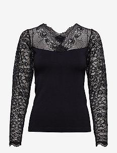 Vanessa V-neck Long Sleeve - long sleeved blouses - sort