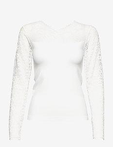 Vanessa V-neck Long Sleeve - langærmede bluser - white