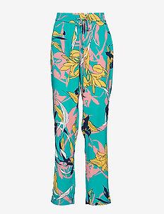 Caitlyn pants - bukser med brede ben - aqua blue twisted flower print