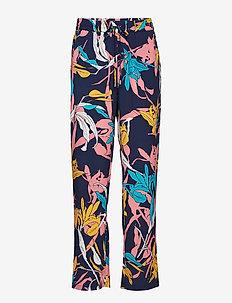 Caitlyn pants - bukser med brede ben - black iris twisted flower print