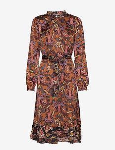 Cardi dress - AUTUMN BLOOM TOBACCO PRINT