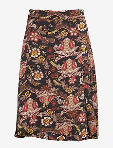 Cardi skirt - midi skirts - autumn bloom black print