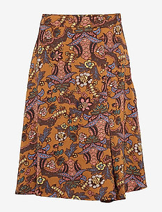 Cardi skirt - midi skirts - autumn bloom tobacco print
