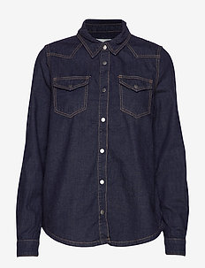 Lau denim shirt - denimskjorter - dark denim