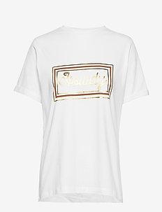 Gracen tee - t-shirts med tryk - broken white w/tobacco print