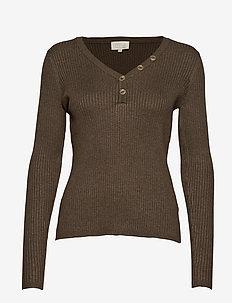Jolan knit Ls tee - swetry - black coffee melange
