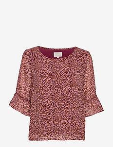 Mariam blouse - kortærmede bluser - rose leo print