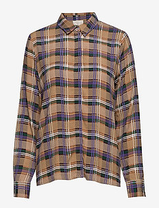 Lota shirt - langærmede skjorter - purple aster check