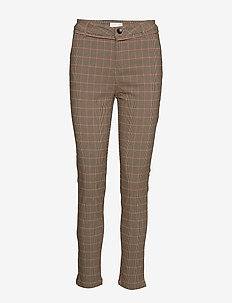 New Carma check 7/8 pants - straight leg trousers - red checked