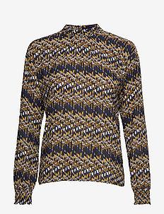 Faya blouse - long sleeved blouses - blue bay illusion print