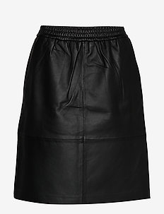 Bitten leather skirt - midi skirts - sort