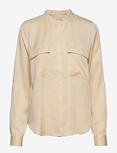 Emissa shirt - long sleeved blouses - vanilla
