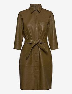 Raymon leather dress - shirt dresses - olive