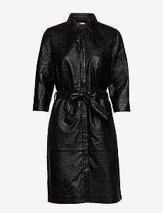 Raymon leather dress - shirt dresses - sort