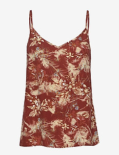 Sunja top - sleeveless blouses - palm print