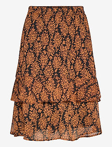 Leyla skirt - midi skirts - orange sunset flower print