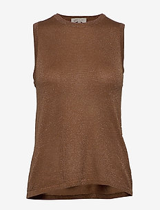 Raka knit top - hauts tricotés - brown sugar lurex