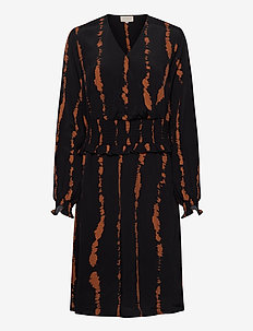 Vally dress - midi dresses - brown sugar tie dye print