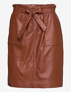 Mirabella leather skirt - spódnice do kolan i midi - chocolate