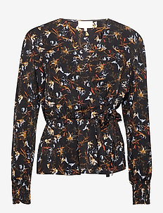 Jessica wrap blouse - langærmede bluser - graphic winter garden print