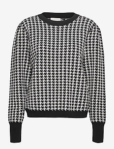 Hailey knit pullover - trøjer - black/steel grey checked