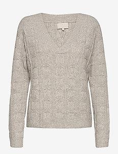 Roxie V-neck pullover - trøjer - light grey melange
