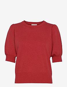 Liva knit tee - gebreide t-shirts - berry red