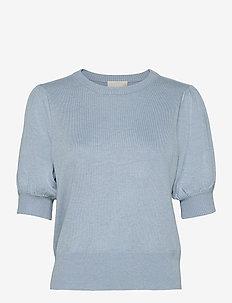 Liva knit tee - gebreide t-shirts - dusty blue melange