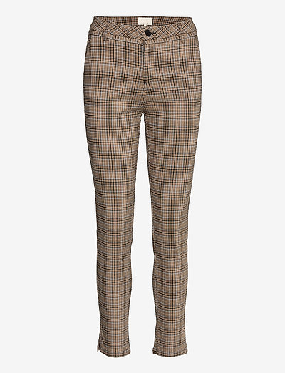 New Carma check 7/8 pants - casual trousers - misty blue checked