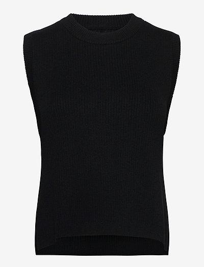 Augustina knit vest - strikveste - sort