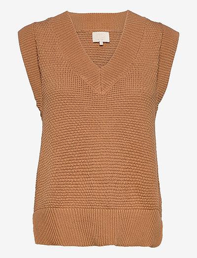 Vibe knit vest - strikveste - almond