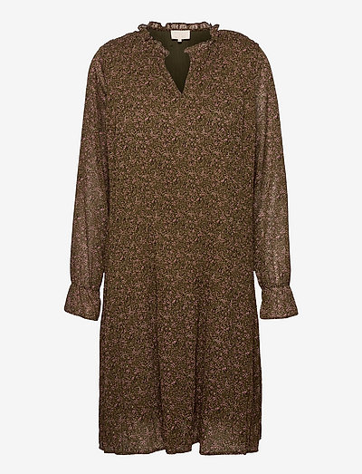 Rikka V-neck dress - everyday dresses - dark olive dot print