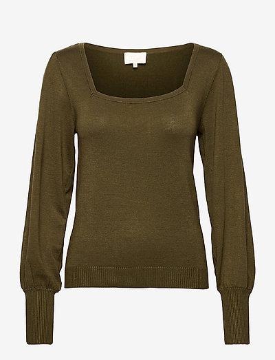 Isra knit pullover - sweaters - dark olive melange